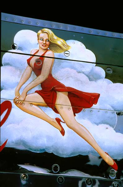 WWII Bomber nose art. Glamerous Gal P-51 Mustang. Photo by Northstar Imaging